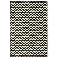 7'10 x 10'10 Black Ivory Contemporary Chevron Area Rug - Quality House