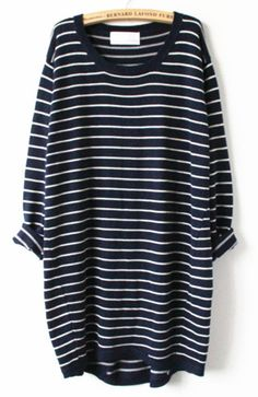 Navy White Striped Long Sleeve Loose Sweater - Sheinside.com