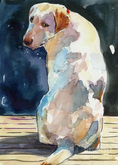 Labrador Retriever Painting - Lucy Moon by Molly Poole