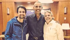 """As Hamilton premiers in the nation's capital, Barack Obama and Lin-Manuel Miranda, two """"old friends,"""" snap a picture Hamilton Lin Manuel Miranda, Barack And Michelle, What Is Your Name, Favorite Person, Barack Obama, Presidents, Chef Jackets, It Cast, Actors"""