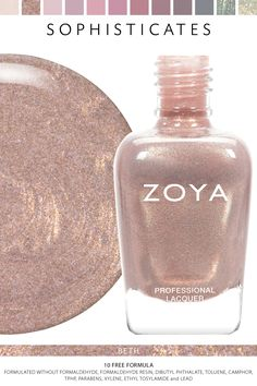 Zoya Beth - Sophisticates Fall 2017 - cute for you, kinda matches your ring! Sparkle Nail Polish, Zoya Nail Polish, Nail Polish Colors, Nail Polishes, Manicures, Gorgeous Nails, Love Nails, Pretty Nails, Sophisticated Nails