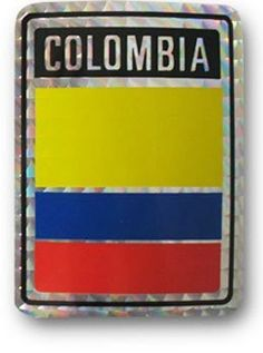 """Colombia - Reflective Decal by Flagline. $2.25. 3'' x 4'' Reflective Decal. These reflective decals contain each country's name and flag on a 3""""x4"""" background."""