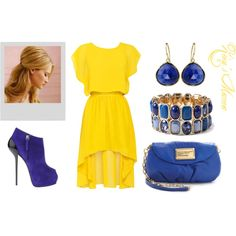 """Gold and Blue goddess"" by zionsmama on Polyvore"