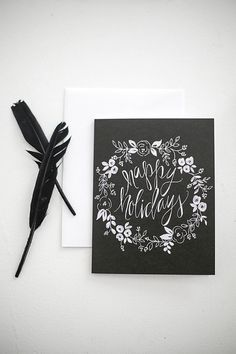Holiday Greeting Cards - Happy Holidays Black & White Floral Wreath - A-2 Single Card