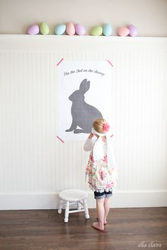 Pin the tail on the Easter Bunny! Super easy, fun activity idea for the kids on Easter. It is a FREE PRINTABLE and only costs $4 to print large! I know my kids would love this Easter Game :)