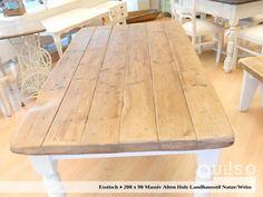 Produkt-Spezifikationen:  - Weichholz massiv - Altholz 100% Reclaimed Wood - (5 Bretter 15 cm Breit und 5,5 cm dick / Stück) - Massive gedrechselte Beine 9 x 9 cm (Abschraubbar) in alt-weiß - Tischplatte geklebt und geschraubt - 2 mal gebeizt und gewachst - Landhausstil - Block-Bein-Ausführungen sind auch Draußen zu verwenden. Bei Verwendung für Draußen bitte beim Kauf angeben; nur dann erfolgt einen Behandlung mit Leinöl. Pamplona, Decoration, Dining Table, Rustic, Furniture, Home Decor, White Table Top, Tables, Old Wood