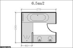 Surface de 6.5m² : de larges coins d'eau - 18 plans de salle de bains de 5 à 11 m² - CôtéMaison.fr