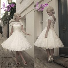 Online Shop Hot Selling 2014 Short Sleeve Tea Length Vintage Lace Short Wedding Dress Bridal Gown in Stock Size 2 4 6 8 10 Ivory W9|Aliexpress Mobile