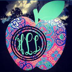 Teacher Apple Lilly Pulitzer Monogram Decal by cestlaviedesignss