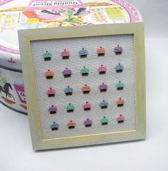 cross stitch cupcake kitchen art by mohu mohu, via Flickr