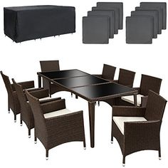 d1115879e377 TecTake 8 chairs and 1 table luxury aluminium poly rattan garden furniture  set outdoor wicker with glass + 2 sets for exchanging the upholstery  antique ...