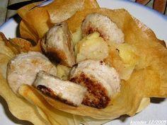 Boudin blanc aux pommes en corolles de bricks - recette clic sur photo