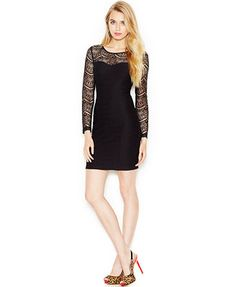 GUESS Illusion-Lace-Panel Bodycon Dress