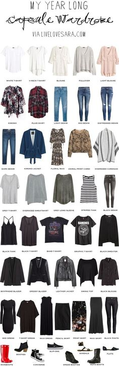 Year Long Capsule Wardrobe spring summer fall and winter #capsule #capsulewardrobe #wardrobe