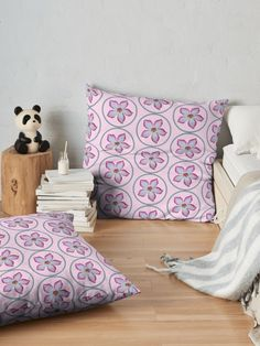 """""""Tropical Pink & White Impala Lily flower"""" Floor Pillow by Mandsred1 