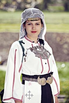 Woman in traditional clothes from Bosnia Hercegovina.