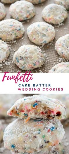 Funfetti Cake Batter Wedding Cookies 30 minutes · Makes dozen · Soft buttery cookies filled with the flavor of cake batter and sprinkles! Wedding cakes, tea cakes, snowballs – whatever the name these are sure to delight all year. Quick Cookies, Buttery Cookies, Yummy Cookies, Filled Cookies, Easy Cookie Recipes, Cookie Desserts, Just Desserts, Icing Recipes, Cookie Ideas