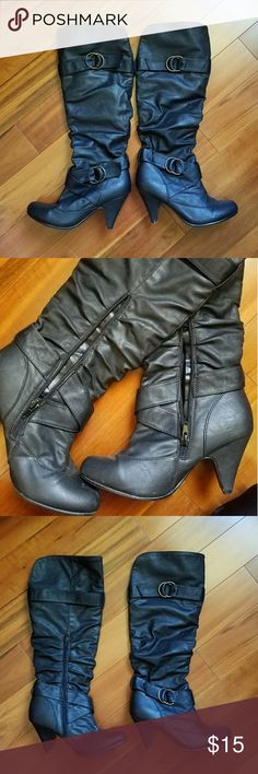 Women's boots Faux leather mid high boots. With zipper on the inner side. Comfortable insole. Buckles are adjustable. 3 in heels.  Leave me a comment if you have any questions. Thank you for checking out my item. Charlotte Russe Shoes Heeled Boots