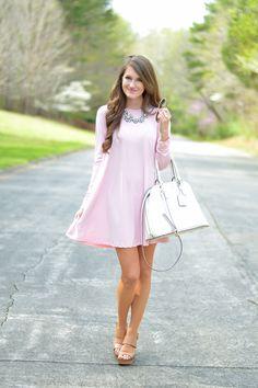 Love this light pink shift dress
