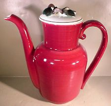 Vintage Red Wing Pottery Normandy Apple Blossom Coffee Pot EXCELLENT USED