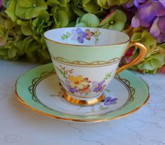 Vintage Tuscan Bone China ~ Porcelain Cup & Saucer ~ Violets ~ Lavender ~ Gold | by Donna's Collectables