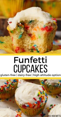 Gluten-free, homemade Funfetti Cupcakes that are also dairy-free and with a high. Gluten-free, homemade Funfetti Cupcakes that are also dairy-free and with a high altitude option. Dairy Free Deserts, Dairy Free Cupcakes, Gluten Free Cakes, Gluten Free Baking, Dairy Free Recipes, Gluten And Dairy Free Desserts Easy, Gluten Free Cupcake Recipe, Gluten Free Party Food, Healthy Cupcakes