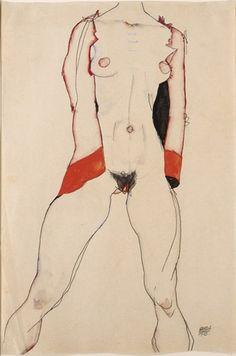Egon Schiele, Standing Nude in Red Jacket, 1913