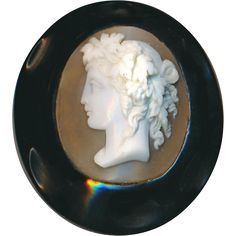 Brooch--Large Mid-19th c. Carved Natural Jet and Shell Cameo Bacchante from rclarner on Ruby Lane