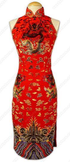 Unique Dragon Patterned Velvet Cheongsam : EastStore.com