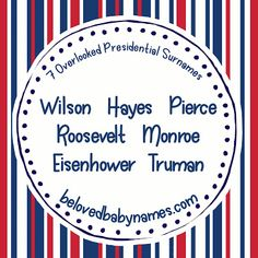 Beloved Baby Names: 7 Overlooked Presidential Surnames Happy Presidents Day, Baby Names, Kid Names