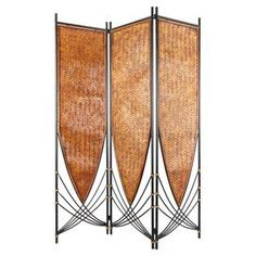 """Hand-woven rattan room divider with an Art Deco-style design.    Product: Room divider    Construction Material: Metal and rattan    Color: Black and gold      Features:   Art Deco free flowing design is extremely versatile  Three folding panels  Can be flipped upside down for a whole new look    Shade is hand-woven honey rattan    Dimensions: 71"""" H x 52.5"""" W (overall)"""