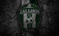 Lataa kuva Zalgiris Vilnius, logo, art, A Lyga, Liettua, jalkapallo, football club, FC Zalgiris, asfaltti rakenne, Zalgiris