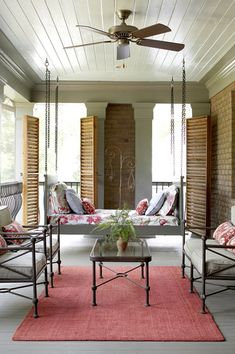 shutters and hanging bed swing Interior Garden, Interior And Exterior, Interior Design, Outdoor Rooms, Outdoor Living, Outdoor Balcony, Outdoor Kitchens, Porch Swing, Front Porch