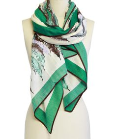 Green Feather Scarf