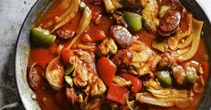 A delicious, quick and easy midweek meal with chorizo, green olives and peppers. Great all year round, it's light and summery, but still hearty enough for cool autumn evenings.