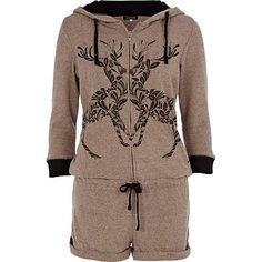 Brown reindeer print playsuit - pyjamas - nightwear / slippers - women