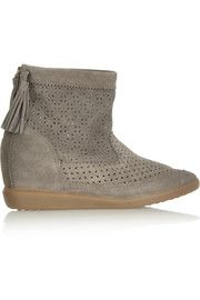 Isabel Marant Beslay perforated suede concealed wedge ankle boots