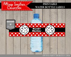 INSTANT DOWNLOAD Mickey Mouse Inspired Handy Helpers Water Bottle Labels by DivinePartyDesign Printable DIY.
