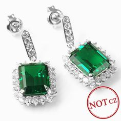 Fashion Party Set Luxury Jewelry Big 9.5ct Genuine Emerald Earring Only $99 => Save up to 60% and Free Shipping => Order Now! #Bracelets #Mystic Topaz #Earrings #Clip Earrings #Emerald #Necklaces #Rings #Stud Earrings