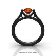 14K Black Gold Elegant and Modern Wedding or Engagement Ring for Women with an Orange Sapphire Center Stone R665-14KBGOS