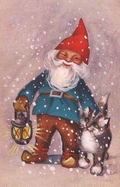 elf cat christmas card art Julenisse. fairy  lantern