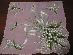 Beautiful Vintage Lavender Lily of The Valley Hankie EX Cond | eBay