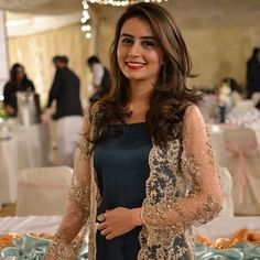 Lace jacket, but don't like it, especially over dark dress. Indian Attire, Indian Wear, Pakistani Outfits, Indian Outfits, Pakistan Fashion, Desi Clothes, Pakistani Bridal, Indian Designer Wear, Indian Dresses
