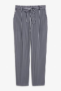 Flowy striped trousers - Blue stripes - Trousers & shorts - Monki SE