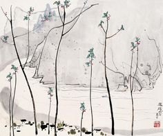 Wu Guanzhong 吴冠中 August 1919 – June a contemporary Chinese painter widely recognized as a founder of modern Chinese painting. Chinese Landscape Painting, Japanese Painting, Chinese Painting, Japanese Art, Wu Guanzhong, Chinese Drawings, Art Chinois, Art Asiatique, Tinta China