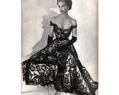 All Sizes Custom Off-shoulder Satin & Lace Gorgeous Reproduction Dress. Available in Black or White Lace. Vintage Fashion 1950s, Vintage Mode, Retro Fashion, Vintage Dior, Vintage Style, Retro Style, Vintage Inspired, Vintage Outfits, Retro Outfits