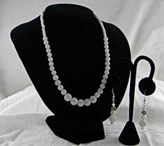 White Glass Bead Necklace and Earrings with Rose Accent Silver Beads | AmeliaOriginals - Jewelry on ArtFire
