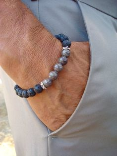 Mens Spiritual Protection and Serenity Bracelet with a design of semi precious Gray Jade with a deep and stunning color, the Jade array has Bali Caps on each side, Black lava and a black wood Gemstone Bracelets, Bracelets For Men, Jewelry Bracelets, Man Bracelet, Man Jewelry, Leather Bracelets, Designer Mens Bracelets, Mens Silver Bracelets, Diamond Bracelets