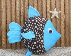 Fish pillow nautical nursery minky fish pillow under the Nautical Baby Nursery, Nautical Pillows, Diy Pillows, Fabric Animals, Plush Animals, Balloon Fish, Sewing Crafts, Sewing Projects, Crochet Leaf Patterns