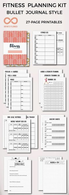 Fitness Mega Kit - Healthy Eating, Exercise, Nutrition, Meal Planning, Recipes - Bullet Journal Printable Whether you need to get in shape, train for a marathon, or develop life-long healthy habits, this fitness planner printables can help. This is the only kit you need to create customized eating and exercising planner in your bullet journal or other ring-bound/discbound planners! It contains 27 pages of joyful, nice and neat, fitness planning templates.